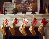 Shabby Chic Christmas Stocking: Red and White Collection. $33.00, via Etsy.