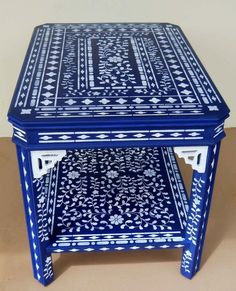 This is my Blue Stenciled Table. I decided to cover every possible surface with…