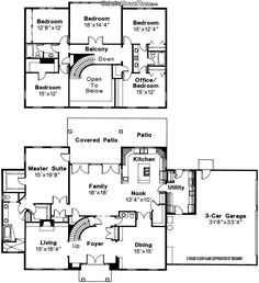 """5 bed 3.5 bath 2 story house plan turn 18'X14'4"""" bedroom into a movie room and the 12'8""""X12' bedroom into the office"""