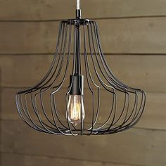 I love the modern clean lines on this Small Wire Pendant - Black on westelm.com