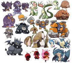 sketchatorium - Second half of my monster collection list! Game Character Design, Character Design Inspiration, Character Concept, Character Art, Oc Pokemon, Pokemon Fan Art, Creature Concept Art, Creature Design, Infinite Art