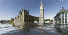 A visually compelling but inaccurate new sea level rise visualization allows you to picture your street under feet of water, due to global warming. Sunken City, Underwater City, Sea Level Rise, Photomontage, Global Warming, Big Ben, London, Google, Pictures