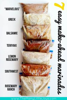 Get yourself ready for summer grilling with these 7 easy, makeahead chicken marinade recipes Everything you need to know to make, freeze, and grill a bunch of delicious meals with minimal effort! is part of Chicken marinade recipes - Freezer Cooking, Freezer Meals, Cooking Recipes, Healthy Recipes, Freezer Chicken, Cooking Games, Cooking Classes, Cooking Pork, Meal Prep With Chicken