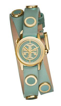 Tory Burch Reva Mini Studded Double-wrap Watch