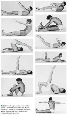 Joseph Pilates mat workout demonstration. Source: Das Pilates-Lehrbuch: Matten- und Geräteübungen für Prävention und Rehabilitation. Link: http://www.amazon.com/Das-Pilates-Lehrbuch-Geräteübungen-Prävention-Rehabilitation/dp/3642207790