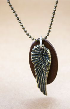 Angel Wing Necklace, Men's brass Necklace, Wing pendant, Necklaces For Men, Jewelry For Men, Gift for men by MensJewelryByMagoo on Etsy https://www.etsy.com/listing/261734242/angel-wing-necklace-mens-brass-necklace