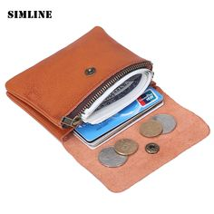 Brand Vintage Handmade 100% Genuine Cow Leather Cowhide Men Women Short Mini Small Wallet Wallets Coin Purse Card Holder For Man