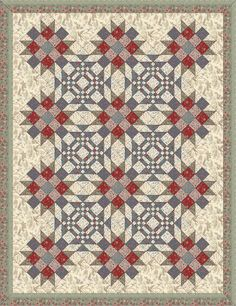 Goose in a Pond & Sister's Choice blocks - French General - La Belle Fleur & Moda Papillon fabrics. Set on Point