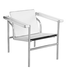 String Flat Modern Arm Chair, White Leather