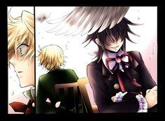 brunettes blondes wings feathers Pandora Hearts anime anime boys manga Oz Vessalius Leo (Pandora Hearts)