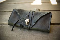 Black Leather and Skull Tobacco Pouch   by SevenBillionBuddhas, $42.00