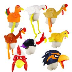 Kids Chicken Rooster Turkey Head Mask Plush Warm Hat Headwear Animal Fancy Party #thanksgiving #chickent #turkey #winter #hat #cap #headwear #Masquerade