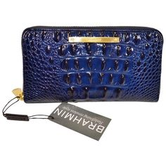 Pre-owned Brahmin Suri Wallet G37151nv Navy Blue Clutch ($118) ❤ liked on Polyvore featuring bags, handbags, clutches, navy blue, genuine leather purse, leather handbags, blue purse, navy blue leather purse and leather clutches