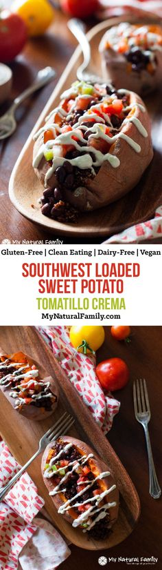 Southwest Loaded Sweet Potato with Tomatillo Crema Recipe {Clean Eating, Gluten-Free, Dairy-Free, Vegan}