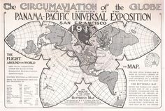 Cahill butterfly projection world for the 1915 Panama-Pacific exposition #art #map #history #design