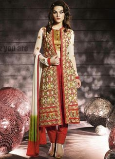 Cream And Red Embroidery Work Georgette Churidar Suit