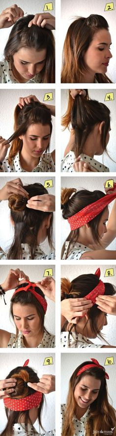16. #Bandana-rama - 17 Gorgeous #Hairstyles for Lazy Girls ... → Hair #Twisty