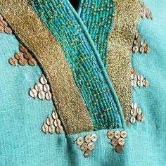 Aqua Chanderi Tissue V Neck Straight Kurta With Embroidery