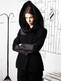 Shop Coats - Black Paneled Velvet H-line Long Sleeve Coat online. Discover…
