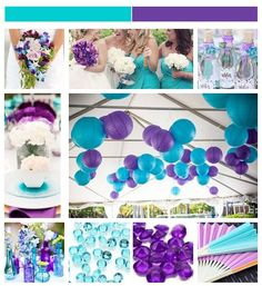 turquoise and purple wedding - paper lanterns Aqua Wedding, Peacock Wedding, Wedding 2017, Dream Wedding, Wedding Day, Teal Weddings, Wedding Veils, Wedding Paper, Wedding Color Schemes