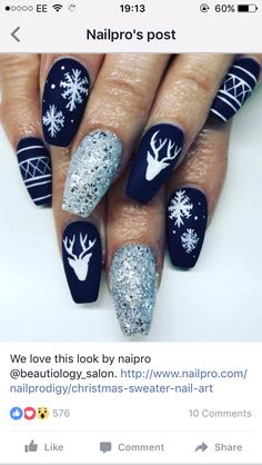 50 Voguish Christmas nails that add to the festive mood .- 50 Voguish Christmas nails that best reflect the festive mood - Xmas Nail Art, Cute Christmas Nails, Christmas Nail Art Designs, Xmas Nails, Winter Nail Art, Winter Nails, Holiday Nails, Silver Christmas, Seasonal Nails
