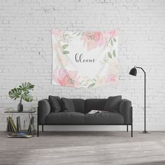 bloom in pastel Wall #Tapestry #flowers #typography #spring #homedecor