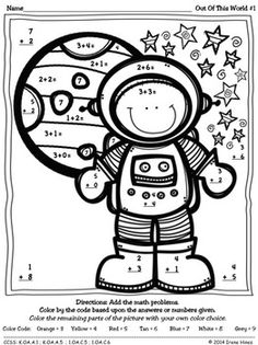 Math Is Out Of This World: Color By The Code Math Puzzles To Practice Number Recognition Skills And Basic Addition Space Theme Classroom, Math Classroom, Kindergarten Math, Teaching Math, Teaching Resources, Math Addition, Addition And Subtraction, Space Activities, Maths Puzzles