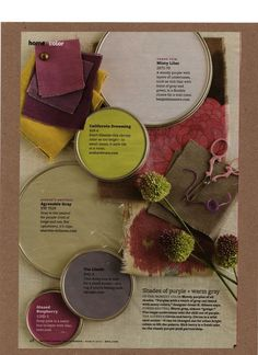 Shades of purple and warm greys (almost a greige) with accents in citron and berry. Image via More Great Looks Like This