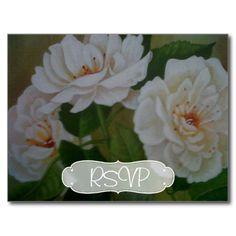White Rose Wedding Invitation RSVP with Photo Postcard