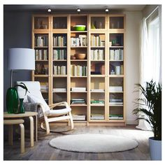 Find best Billy bookcase IKEA now! Arranging your favorite books and decorating room can be done with best Billy bookcase from IKEA. Today, bookcases are Home Library Design, Interior, Home, Ikea Poang Chair, Billy Bookcase, Bookcase, Ikea, Bookcase Design, Ikea Billy Bookcase Hack