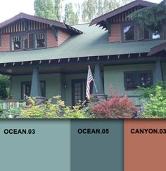 Craftsman style--love these colors. Blends in with the surroundings of the PNW.