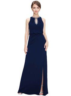 Women's Elegant Rhinestone Cut-out Front Side Slit Dress - OASAP.com