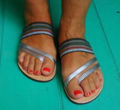 Silver Leather  Fabric band Greek Handmade sandals by Ammos, $57.00