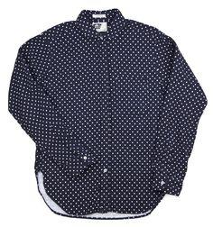 Engineered Garments  Round Collar Shirt  Navy Polka dot Flannel
