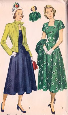 "1940s Misses One Piece Dress and Jacket Vintage Sewing Pattern, Simplicity 2365 bust 30"" uncut"