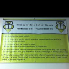 Bussey MS Owlet Band Rehearsal Procedures Banner