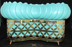 Vintage Teal Blue Ceramic TV LAMP Planter ~ Mid Century Modern RETRO