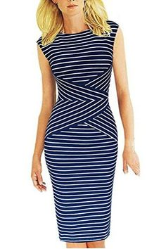 Summer Striped Sleeveless Wear to Work Casual Party Pencil Dress