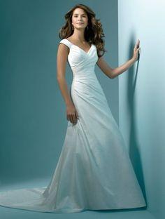 (NO.031097 )2011 Style A-line V-neck Sleeveless Chapel Train Taffeta Wedding Dress For Brides