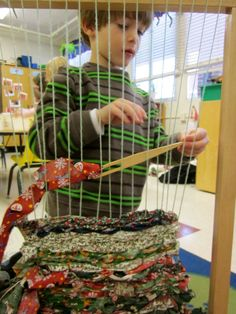 "Repinned by Elizabeth VanBuskirk, teacher and author of upcoming book ""Beyond the Stones of Machu Picchu: Folk Tales and Stories of Inca Life"" on ""Weaving & Art Teaching Ideas."" It's great to have such a large loom in the classroom. A nice opportunity for kids when they need a creative break."