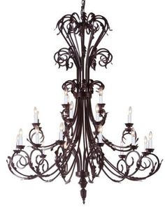 "Large Foyer / Entryway Wrought Iron Chandelier 50"" Inches Tall!! H50"" X W30"" - A83-724/24"
