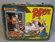 Vintage 1964 Original Popeye the Sailor Metal Lunch Box & Thermos Black Trim Retro Lunch Boxes, Lunch Box Thermos, Metal Lunch Box, Popeye Cartoon, Popeye And Olive, Boxer Rebellion, Out To Lunch, Old Toys, Sailor