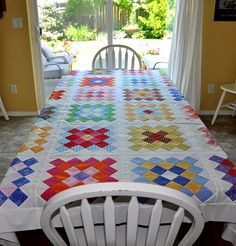 Great Granny Quilt Top for the table...tutorial at Bee in my Bonnet