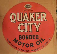 Quaker City Bonded Motor Oil Sign