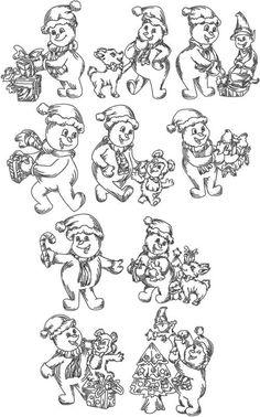 Advanced Embroidery Designs - Redwork Snowman Set