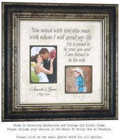 Mother of the Groom Gift Parents of the by PhotoFrameOriginals