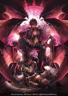 Belial as the Lust tarot card for Crosswinds: Granblue Fantasy Tarot project! Anime Art Fantasy, Dark Fantasy Art, Fantasy Artwork, Demon Manga, Anime Demon Boy, Fantasy Character Design, Character Art, Manga Japan, Hot Anime Guys