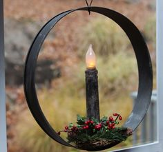 Tin window candle ring ~ Easy to make Old World Christmas, All Things Christmas, Christmas Holidays, Christmas Crafts, Christmas Decorations, Primitive Crafts, Primitive Christmas, Country Christmas, Primitive Country
