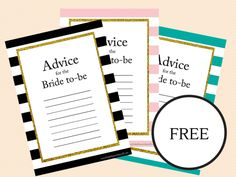FREE printable bridal shower advice cards for the bride to be