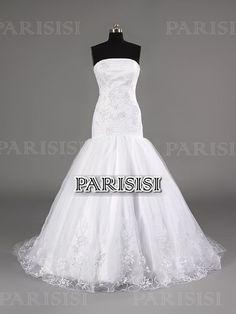 Ctura Caida Sin tirantes Tren Capilla Blanco vestidos de novia